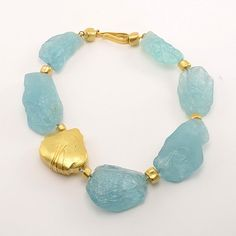 Nancy Michel at Patina Gallery. Necklace, 18K Yellow Gold, Large Aquamarine Crystals, 17.5""