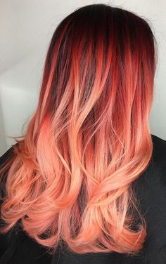 40 Ombre Hair Color And Style Ideas Funny word, ombre. Don't you think? The Ombre Hair Color is getting updated this season again! Check out these 40 amazing Ombre hair color and style ideas and Best Ombre Hair, Brown Ombre Hair, Orange Ombre Hair, Ombre Hair Dye, Fire Ombre Hair, Fire Hair, Red Ombre, Ombre Color, Colour