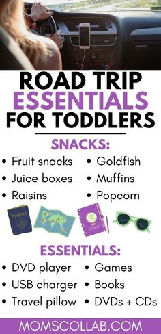 Are you about to hit the road with a toddler? Pin this + click through for a packing list on what to pack for a road trip with toddlers. You'll find activities and games for long car rides, along with Toddler Travel Activities, Road Trip Activities, Road Trip Packing, Road Trip Essentials, Road Trips, Road Trip With Kids, Travel With Kids, Baby Travel, Family Travel