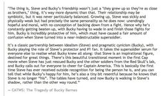 """Preferred Headcanon: Bucky's sober little look just after he calls for a cheer for """"Captain America"""" is due to the fact that it is the icon, not Steve, getting the recognition, when he was Captain America material inside all along."""
