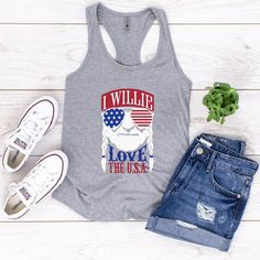 of July tank top,I Willie Love The USA women's racer of July tank top for women,Willie Nelson Tank of July shirts. Cut Up Shirts, Tie Dye Shirts, Old Shirts, Willie Nelson T Shirts, Funny Thanksgiving Shirts, T Shirt Diy, Workout Tank Tops, Heather Grey, Shirt Makeover