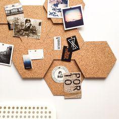 Modular Cork Hexagon Tiles - Set of 3 / Noticeboard / Bulletin Board / Message Board / Home Office / Organization