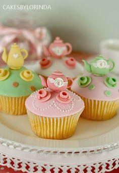 🌸 Little Tea Pot Cupcakes Pretty Cupcakes, Beautiful Cupcakes, Yummy Cupcakes, Cupcake Cookies, Teacup Cupcakes, Cupcake Art, Teapot Cake, Little Cakes, Small Cake