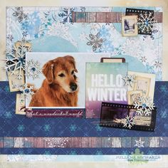 Hello Winter Pet Scrapbook Page by Juliana Michaels for BoBunny using the Altitude collection and Leaky Shed Studio Chipboard for the December 2014 Sketch Challenge. #BoBunny @julianamichaels