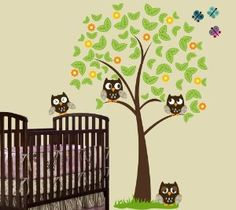 6ft Tree with 4 Owls, Butterflies, Grass and Flowers Wall Decal ...