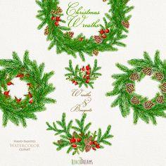 Corona dell'acquerello di Natale & mazzi. di ReachDreams su Etsy