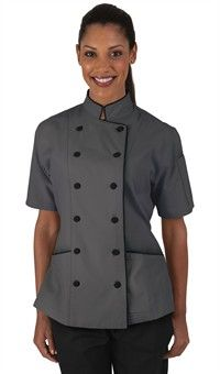 Women's Tailored Chef Coat with Piping - Fabric Covered Buttons - 65/35 Poly/Cotton Style   #  86515 #chefuniforms #cooking #womensclothing #chefcoats