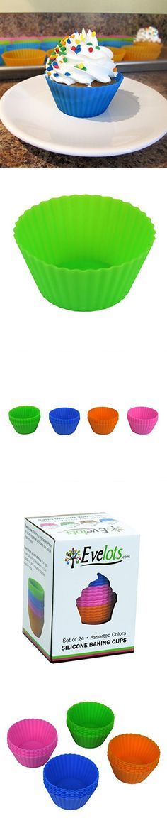 Evelots Set Of 24 Silicone Baking Cups, Reusable Cupcake & Muffin Mold Supplies Baking Cups, Cupcake, Muffin, Cupcakes, Cupcake Cakes, Muffins, Cup Cakes