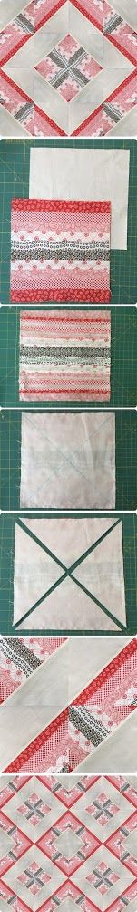 One modern block, many quilts - video tutorial. Quick and easy quilt block. This is a half square triangle block with strips on one side. Full of possibilities.