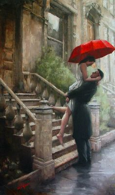 Artist Daniel Del Orfano Limited Edition Art Print titled: Welcome Home. Fine Art Prints, paintings and original artwork for sale, buy or resale. Art Amour, Umbrella Art, Drawing Umbrella, Umbrella Wreath, Fine Art, Beautiful Paintings, Romantic Paintings, Oeuvre D'art, Painting & Drawing