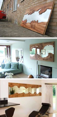 British designer - Caryn Moberly Mirror made from pieces of burred elm. Natural wood