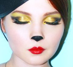 minnie makeup--change it up--no black nose and I have Snow White glammed up Family Halloween Costumes, Halloween Make Up, Halloween Face Makeup, Halloween Ideas, Haunted Halloween, Halloween 2016, Halloween Outfits, Cheshire Cat Makeup, Doe Deere