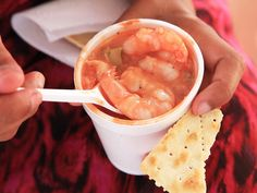 Coctel De Camarones (Colombian-Style Shrimp Ceviche Cocktail) _ The Colombian stuff is different. It's made with cooked shellfish & shrimp, langoustines, lobster, oysters, octopus, periwinkles, or whatever gets dragged up that days—dressed with lime juice, ketchup, mayonnaise, & perhaps some hot sauce & onions or cilantro. It's delicious! #Colombian #Shrimp_Cocktail