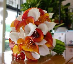 mango and white calla lily wedding bouquet - Google Search