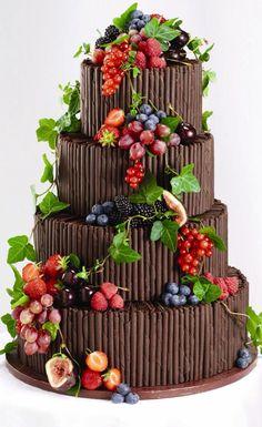 4 tier chocolate cigarillo wedding cake
