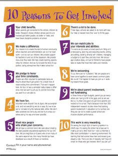 Get the word out on the importance of parent involvement! Here are 10 good reasons!
