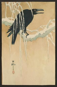 Title: Yuki yanagi ni karasu. Title Translation: Blackbird in snow.  Related Names: Ikeda, Koson, 1802?-1867? Date Published: Between 1880 and 1890  Medium: 1 print: woodcut, color.  Summary: Print shows a blackbird (raven or crow) perched on a snow-covered branch.