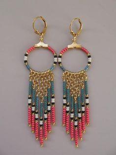 Seed Bead Hoop Chain Earrings - Coral/Dusty Teal Blue