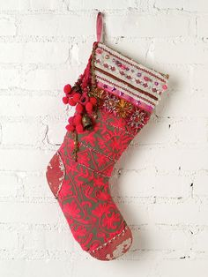 Free People FP ONE Tinsel and Lace Stocking #bohemian #Christmas @Free People