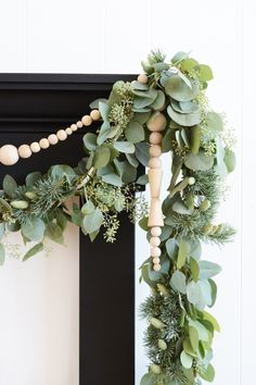 greenery + wood bead