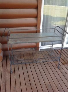 Large Vintage Wrought Iron  Metal Glass Top Patio Garden Server Rolling Cart #Traditional