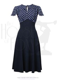 1940s Grable Tea Swing Dance Dress in Navy Polka