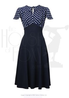 1940s Grable Tea Swing Dance Dress in Navy Polka