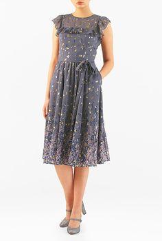 I <3 this Ruffle gold tipped floral print georgette dress from eShakti