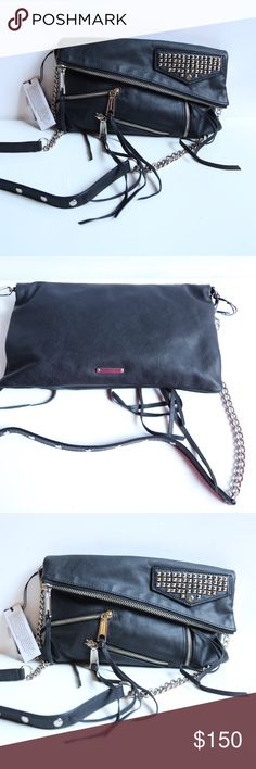 Rebecca Minkoff black Harper crossbody Brand new Rebecca Minkoff Harper crossbody bag with multiple zippers and studs embellishments 🅿️posh rules only🅿️ 🚫no trades🚫 ✅love to negotiate✅ Rebecca Minkoff Bags Crossbody Bags