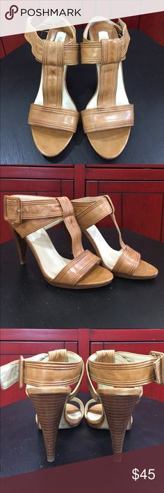 "🆕Max Studio Tan Sandals! Leather sandals with adjustable ankle strap. The heel height is 4"". Max Studio Shoes Sandals"