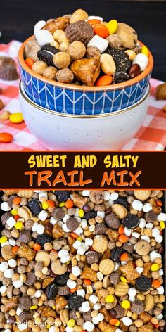 Sweet and Salty Trail Mix - toss together candies, pretzels, peanuts, and cookies for the best snack mix. Make this easy recipe for family game or movie nights! rezepte selber machen mix mix bar mix bar wedding mix recipes mix recipes for kids Trail Mix Recipes, Snack Mix Recipes, Yummy Snacks, Fall Recipes, Fall Trail Mix Recipe, Halloween Trail Mix Recipe, Thanksgiving Trail Mix Recipe, Best Snacks, Popcorn Recipes