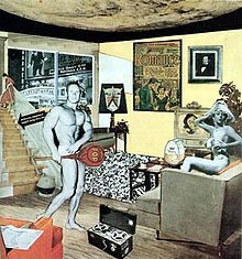 Richard Hamilton, John McHale, Just What Is It That Makes Today's Homes So Different, So Appealing? 1956, collage, (one of the earliest works to be considered Pop Art)