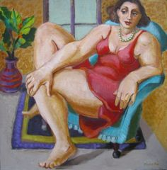 Figurative painting of woman with pearls, female figuration, woman art, contemporary figure painter, painting by artist Marie Fox
