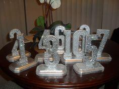 Bling Crystal Rhinestone Wedding Reception Table Numbers :  wedding SDC11028