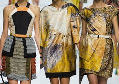 Fendi ss 13- Luxe Printed Fabrics – Cubist and Futuristic Looks – Bold Pastels – 3-D Effects – Colourful Striations – Decorative Marquetry Patterns