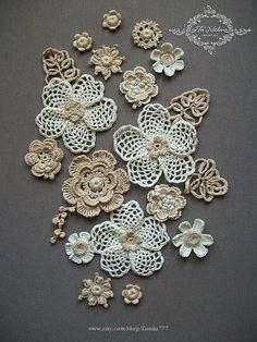 Dress Applique Flowers 20 pc. Irish Crochet Lace Trim Dress