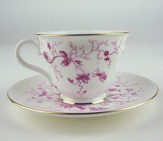 Coalport Tea Cup & Saucer -  Cairo Pink Birds Insects