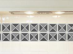 Tile decals SET of 15 tile stickers for kitchen tiles geometric decal MODERN, backsplash tiles, vintage style vinyl stickers
