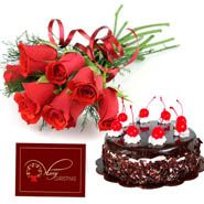 Beautiful flowers & cake with Card