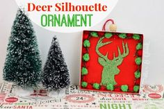 As a crafter who likes to repurpose items whenever I can, I have a stockpile of empty boxes and containers in my craft roo. Christmas Craft Projects, Holiday Crafts, Christmas Holidays, Holiday Decor, Christmas Ideas, Deer Silhouette, Xmas Ornaments, Recycling, Merry