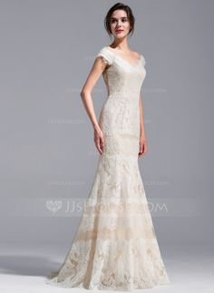 Trumpet/Mermaid Off-the-Shoulder Sweep Train Lace Wedding Dress (002071229)