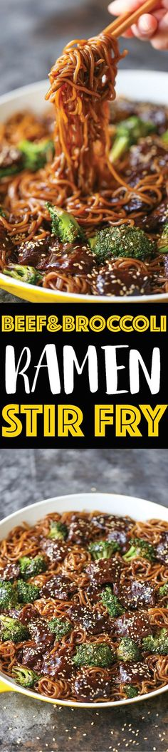 Beef and Broccoli Ramen Stir Fry - Everyone's favorite beef and broccoli turned into the easiest stir fry noodles EVER! It's even better as leftovers!