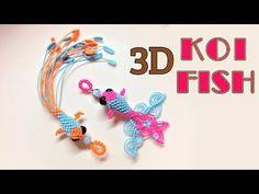 Macrame keychain tutorial - 3D KOI fish pattern - So cute and pretty macrame animal - YouTube
