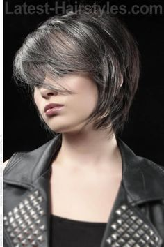 Short Dark Haircut with Fringe Side