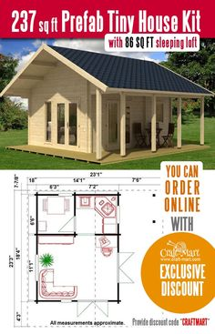 This prefab log Cabin is one of the cutest tiny houses that you can order online. Now priced under $18,000! Plus, mention a discount code ( CRAFTMART ) to get an exclusive $75 OFF discount! High quality log cabin imported from the EU Prefab Tiny House Kit, Tiny House Kits, Tiny House Cabin, Tiny Houses, Awesome Woodworking Ideas, Woodworking Plans, Woodworking Projects, Cottage Design, Tiny House Design