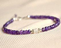 Genuine amethyst bracelet, personalized bracelet,sterling amethyst bracelet, birthstone bracelet