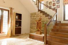 8 Unique and Elegant Modern Staircase Designs You Will Love # . - Trend Home Pooja Room Door Design, Indian Home Interior, Stair Decor, Indian Homes, Pooja Rooms, Modern Staircase, Staircase Ideas, Interior Stairs, House Entrance