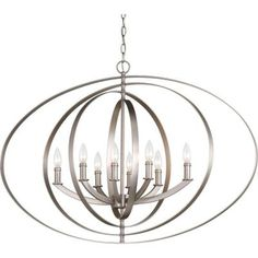 Progress Lighting Equinox Collection 8-Light Burnished Silver Chandelier-P3791-126 - The Home Depot