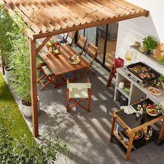 Pergola Attached To House Plans Backyard Pergola, Diy Patio, Pergola Kits, Pergola Ideas, Backyard Ideas, Barbecue Garden, Large Garden Pots, Contemporary Garden Design, Pergola Attached To House