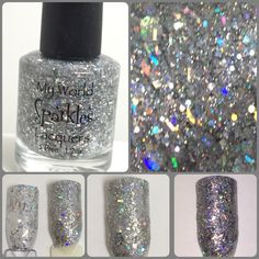 Bid Day Bling, Clear base w/ silver & holo glitters, by My World Sparkles Lacquers - Handmade 5-Free Indie nail polish - Full size 1/2 oz - pinned by pin4etsy.com